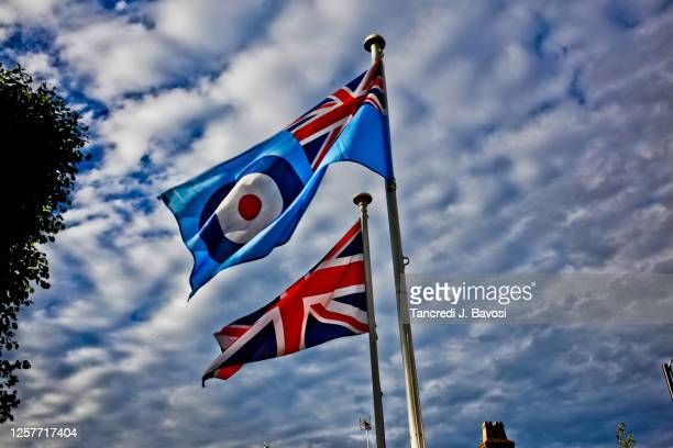 raf flag and british flag - bavosi stock pictures, royalty-free photos & images