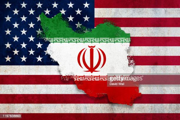 flag and country of iran layered over the usa flag. with a weathered, textured graphic design edit. diplomatic, conflict concept. - イラン ストックフォトと画像