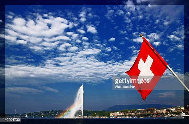 Flag and jet d'eau fountain