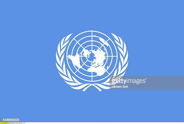 Flag and Logo of the United Nations UN
