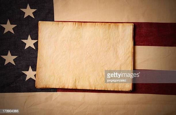 US flag and parchment paper