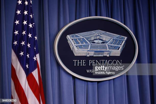 US flag and Pentagon logo are seen before the press conference of US Defense Secretary Mattis and Chairman of the Joint Chiefs of Staff Gen Dunford...