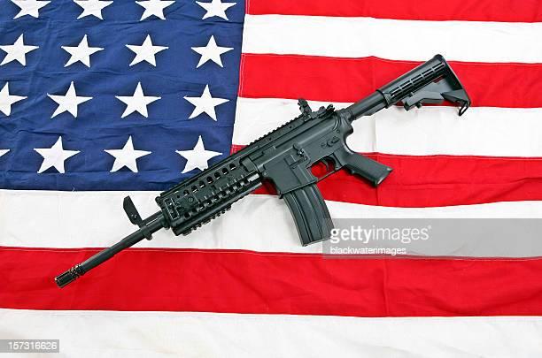 Flag and rifle