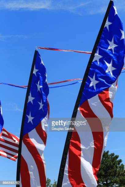 Flag banners in the Stars and Stripes color pattern