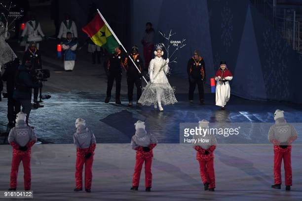 Flag bearer Akwasi Frimpong of Ghana leads the team during the Opening Ceremony of the PyeongChang 2018 Winter Olympic Games at PyeongChang Olympic...