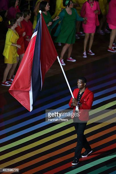 Flag bearer and Athlete Keshorn Walcott of Trinidad and Tobago during the Opening Ceremony for the Glasgow 2014 Commonwealth Games at Celtic Park on...