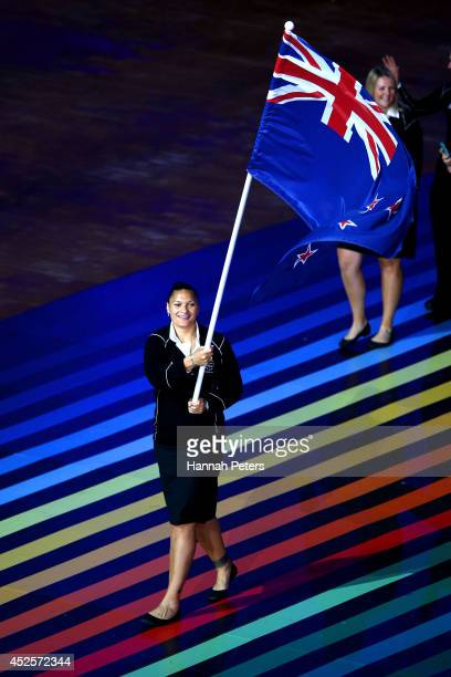 Flag bearer and Shot Putter Valerie Adams of New Zealand during the Opening Ceremony for the Glasgow 2014 Commonwealth Games at Celtic Park on July...