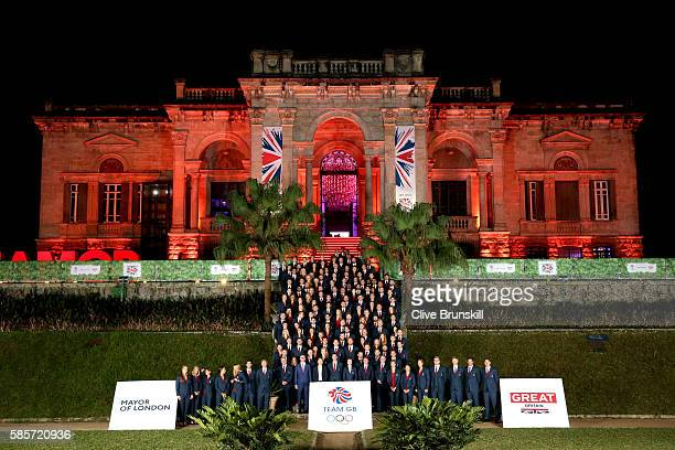 Flag bearer Andy Murray along with HRH Princess Anne Princess Royal and Sebastian Coe pose with the Team GB Olympic Athletes at the British House...