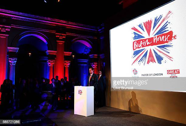 Flag bearer Andy Murray speaks at the Team GB British House Reception ahead of the Rio 2016 Olympic Games on August 3 2016 in Rio de Janeiro Brazil