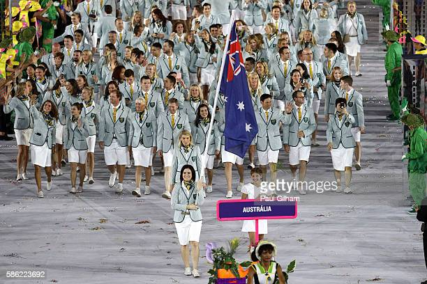 Flag bearer Anna Meares of Australia leads her team during the Opening Ceremony of the Rio 2016 Olympic Games at Maracana Stadium on August 5, 2016...