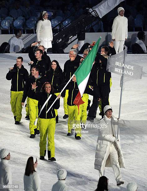 Flag bearer Aoife Hoey of Ireland leads her team into the stadium during the Opening Ceremony of the 2010 Vancouver Winter Olympics at BC Place on...