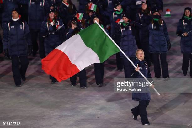 Flag bearer Arianna Fontana of Italy leads the team during the Opening Ceremony of the PyeongChang 2018 Winter Olympic Games at PyeongChang Olympic...