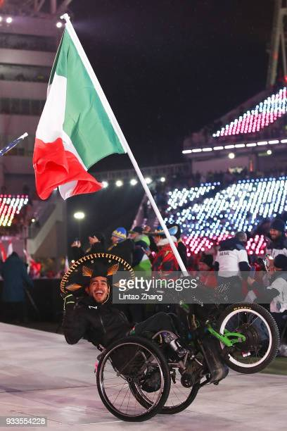 Flag bearer Arly Aristides Velasquez Penaloza of Mexico attend the closing ceremony of the PyeongChang 2018 Paralympic Games at the PyeongChang...