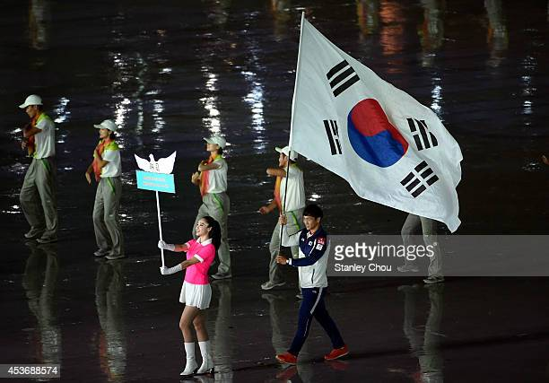 Flag bearer carries the South Korea flag enters during the opening ceremony for the Nanjing 2014 Summer Youth Olympic Games at the Nanjing Olympic...