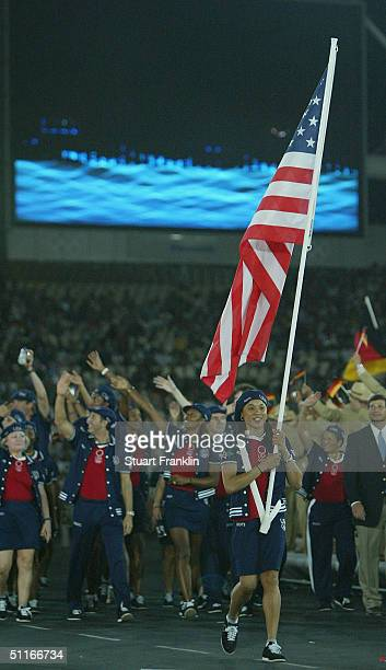 Flag bearer Dawn Staley leads team USA during opening ceremonies for the Athens 2004 Summer Olympic Games on August 13 2004 at the Sports Complex...
