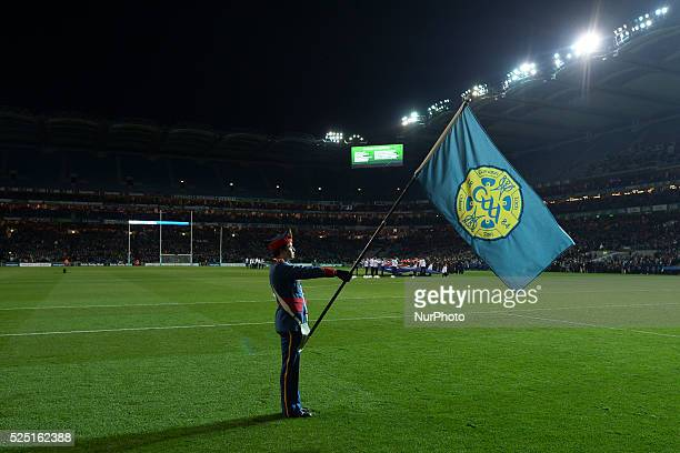 A GAA flag bearer during a ceremony to commemorate the 95th Anniversary of Bloody Sunday ahead of Ireland vs Australia the 2015 EirGrid International...