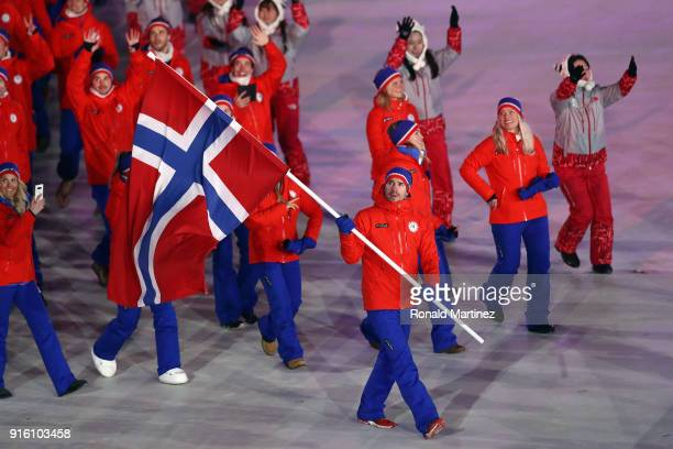 Flag bearer Emil Hegle Svendsen of Norway leads the team during the Opening Ceremony of the PyeongChang 2018 Winter Olympic Games at PyeongChang...