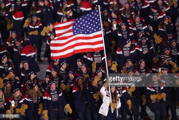 Flag bearer Erin Hamlin of the United States leads the team during the Opening Ceremony of the PyeongChang 2018 Winter Olympic Games at PyeongChang...