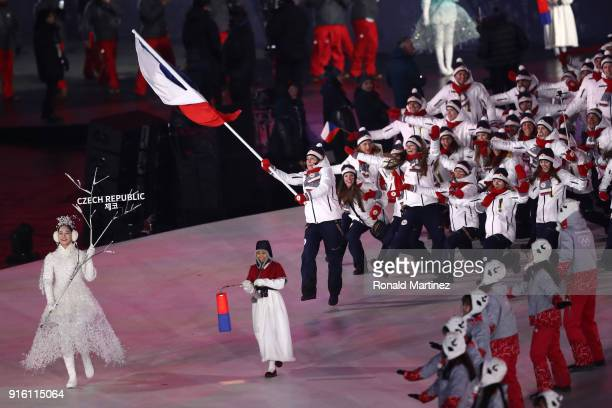 Flag bearer Eva Samkova of Czech Republic leads the team during the Opening Ceremony of the PyeongChang 2018 Winter Olympic Games at PyeongChang...