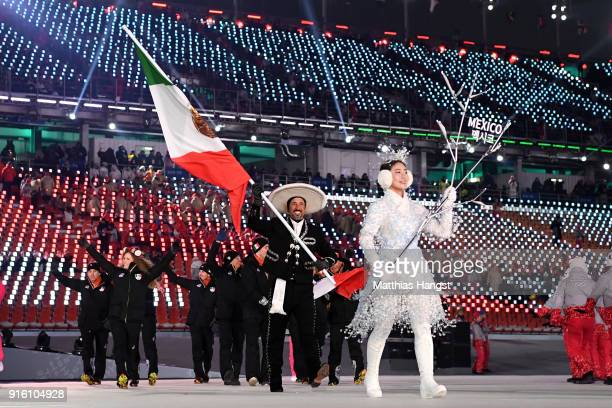 Flag bearer German Madrazo of Mexico and teammates enter the stadium during the Opening Ceremony of the PyeongChang 2018 Winter Olympic Games at...