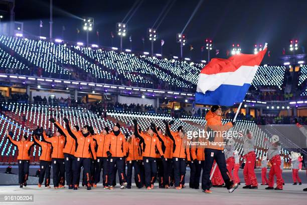 Flag bearer Jan Smeekens of the Netherlands and teammates enter the stadium during the Opening Ceremony of the PyeongChang 2018 Winter Olympic Games...