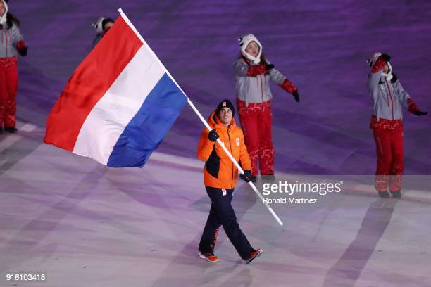 Flag bearer Jan Smeekens of the Netherlands leads the team during the Opening Ceremony of the PyeongChang 2018 Winter Olympic Games at PyeongChang...