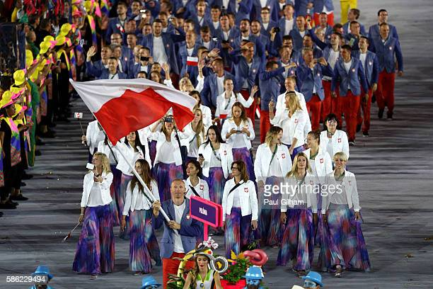 Flag bearer Karol Bielecki of Poland leads his team during the Opening Ceremony of the Rio 2016 Olympic Games at Maracana Stadium on August 5, 2016...