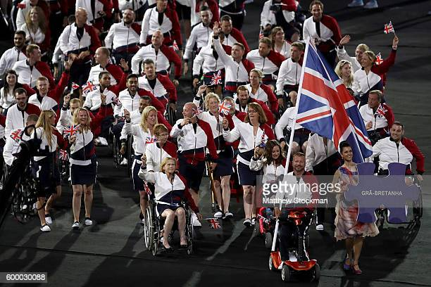 Flag bearer Lee Pearson leads Team Great Britain during the Opening Ceremony of the Rio 2016 Paralympic Games at Maracana Stadium on September 7 2016...