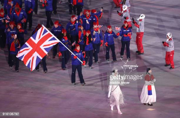 Flag bearer Lizzy Yarnold of Great Britain leads the team during the Opening Ceremony of the PyeongChang 2018 Winter Olympic Games at PyeongChang...
