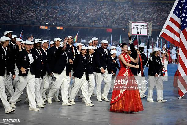 US flag bearer Lopez Lomong leads the team into the stadium during the Opening Ceremony of the Beijing 2008 Olympic Games at the National Stadium...