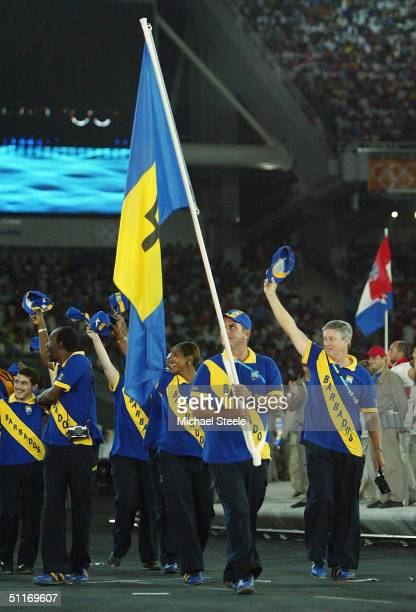 Flag bearer Michael Maskell leads team Barbados onto the field during the opening ceremony of the Athens 2004 Summer Olympic Games on August 13 2004...