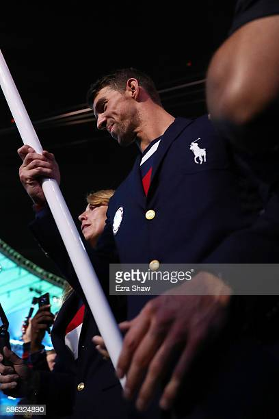 Flag bearer Michael Phelps of the United States is seen during the Opening Ceremony of the Rio 2016 Olympic Games at Maracana Stadium on August 5...
