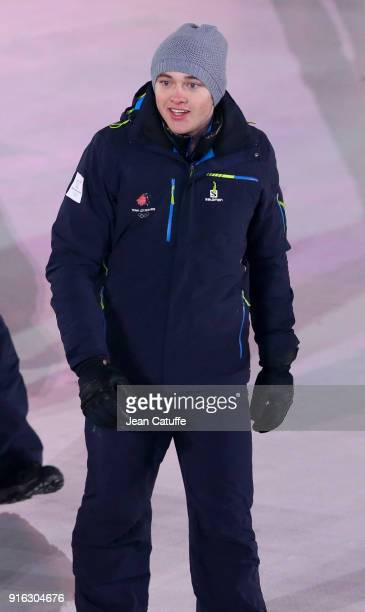 Flag bearer of Luxembourg Matthieu Osch during the Opening Ceremony of the PyeongChang 2018 Winter Olympic Games at PyeongChang Olympic Stadium on...