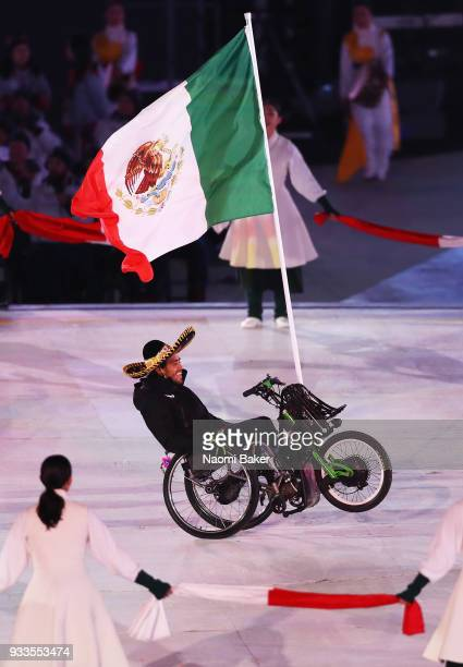 Flag Bearer of Mexico Arly Velasquez during the closing ceremony of the PyeongChang 2018 Paralympic Games at the PyeongChang Olympic Stadium on March...