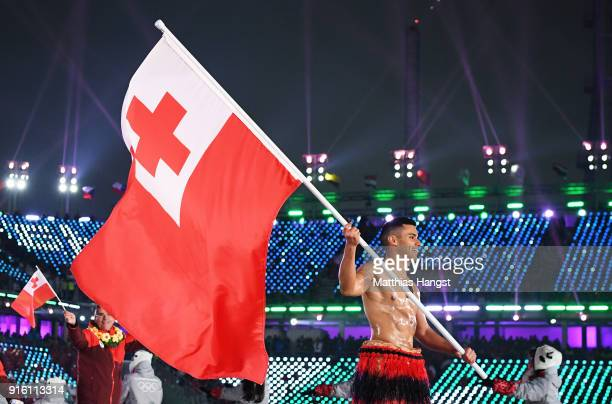 Flag bearer Pita Taufatofua of Tonga and teammates enter the stadium during the Opening Ceremony of the PyeongChang 2018 Winter Olympic Games at...