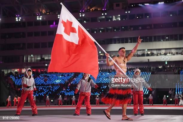 Flag bearer Pita Taufatofua of Tonga leads his country during the Opening Ceremony of the PyeongChang 2018 Winter Olympic Games at PyeongChang...