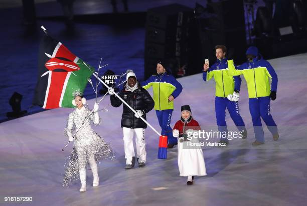 Flag bearer Sabrina Simander of Kenya during the Opening Ceremony of the PyeongChang 2018 Winter Olympic Games at PyeongChang Olympic Stadium on...