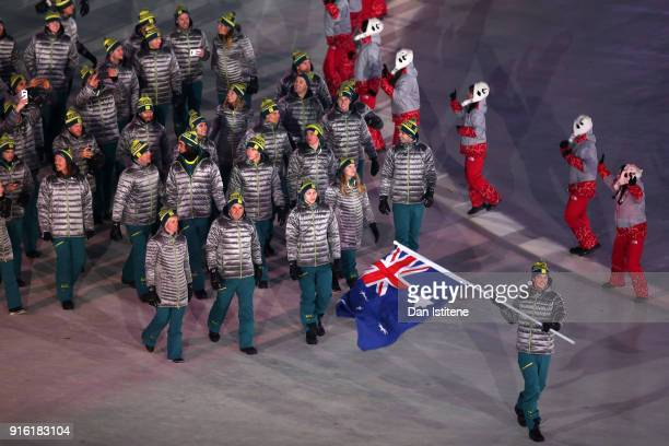 Flag bearer Scotty James of Australia leads the team during the Opening Ceremony of the PyeongChang 2018 Winter Olympic Games at PyeongChang Olympic...