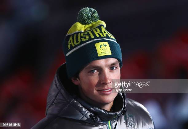 Flag bearer Scotty James of Australia smiles during the Opening Ceremony of the PyeongChang 2018 Winter Olympic Games at PyeongChang Olympic Stadium...