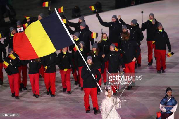 Flag bearer Seppe Smits of Belgium leads the team during the Opening Ceremony of the PyeongChang 2018 Winter Olympic Games at PyeongChang Olympic...