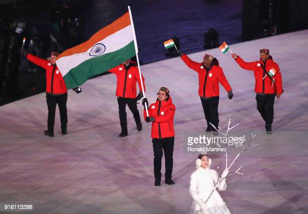Flag bearer Shiva Keshavan of India during the Opening Ceremony of the PyeongChang 2018 Winter Olympic Games at PyeongChang Olympic Stadium on...