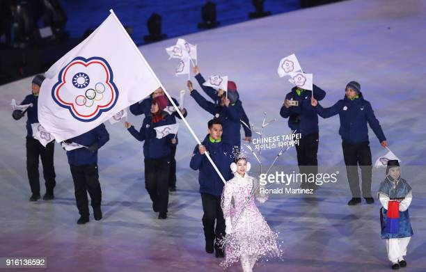 Flag bearer TeAn Lien of Chinese Taipei leads the team during the Opening Ceremony of the PyeongChang 2018 Winter Olympic Games at PyeongChang...