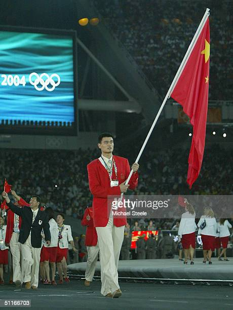 Flag bearer Yao Ming leads team People's Republic of China during opening ceremonies for the Athens 2004 Summer Olympic Games on August 13 2004 at...