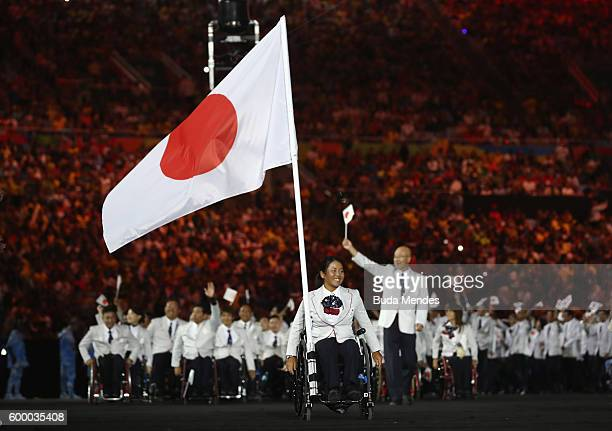 Flag bearer Yui Kamiji of Japan leads the team entering the stadium during the Opening Ceremony of the Rio 2016 Paralympic Games at Maracana Stadium...