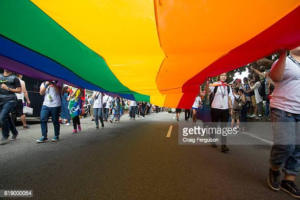 Flag bearers carry a massive gay rainbow flag as they lead out the annual pride parade More than 100 000 people took to the streets to celebrate LGBT...
