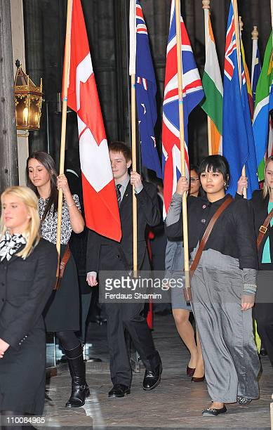 Flag bearers from Commonwealth countries attend the Commonwealth Observance Service at Westminster Abbey on March 14 2011 in London England