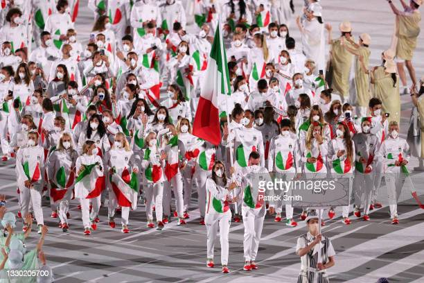 Flag bearers Jessica Rossi and Elia Viviani of Team Italy during the Opening Ceremony of the Tokyo 2020 Olympic Games at Olympic Stadium on July 23,...