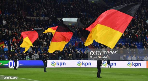 Flag bearers of the German national fan club as seen prior to the UEFA Nations League A group one match between Germany and Netherlands at...
