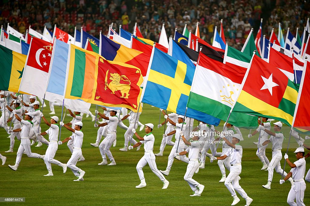 Flag bearers perform during the closing ceremony during day nine of the 15th IAAF World Athletics Championships Beijing 2015 at Beijing National Stadium on August 30, 2015 in Beijing, China.