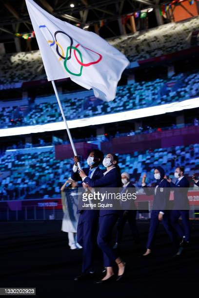 Flag bearers Yusra Mardini and Tachlowini Gabriyesos of The Refugee Olympic Team during the Opening Ceremony of the Tokyo 2020 Olympic Games at...